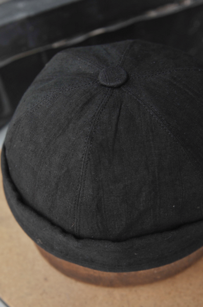 Watch Cap  - Over dyed Linen - Black