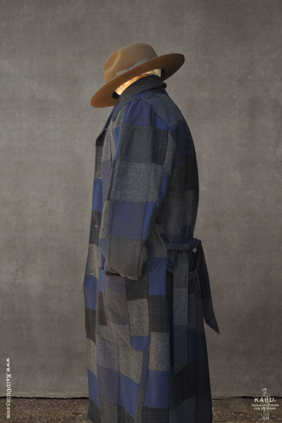 Patchwork Wool Rob Coat - Blue - M, L