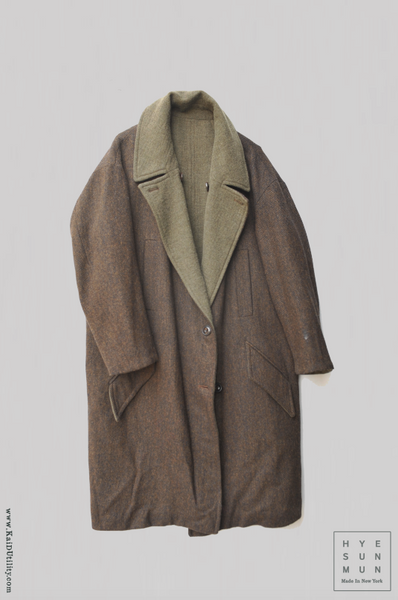 Anne Reversible Wool Coat - GREEN/Brown Tweed - S