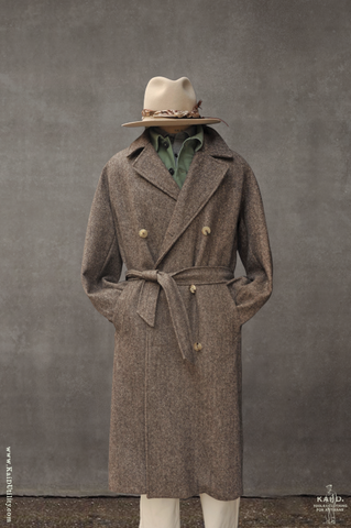 Grandad Wool Trench - Herringbone - L, XL