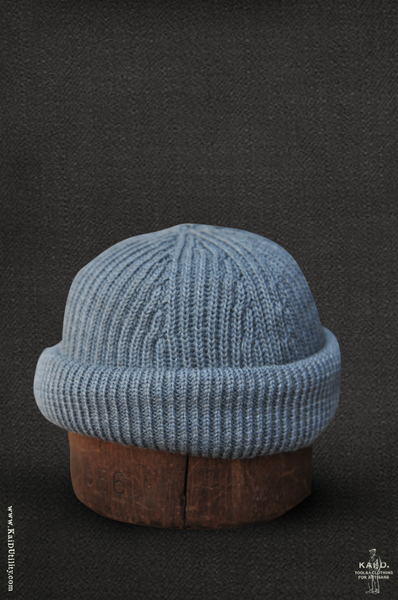 Cardigan Stitch Beanie - Light Indigo