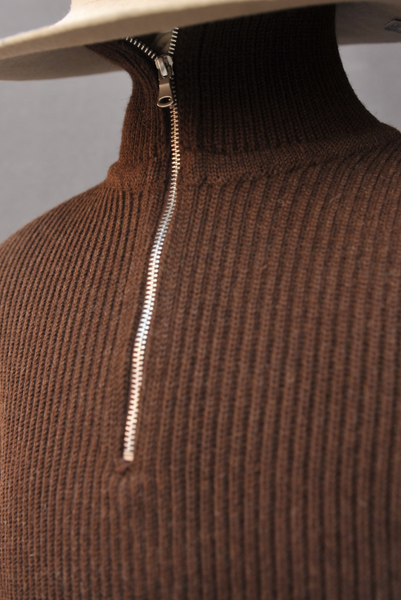 Half Zip Sweater Jacket - Brown - M, L, XL