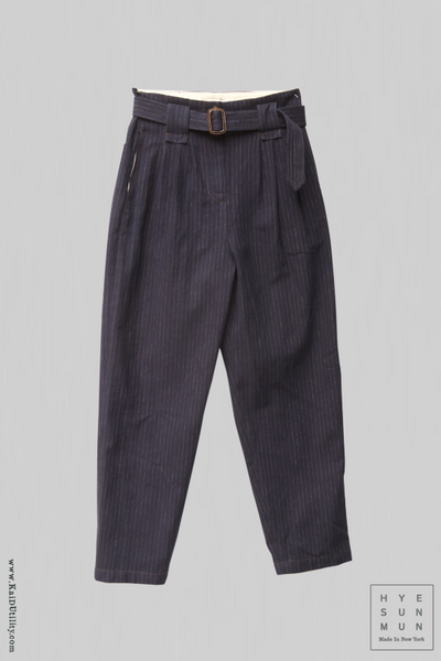 Kaylee Belted Pants - Cotton Wool Pinstripe - Navy - S, M, L