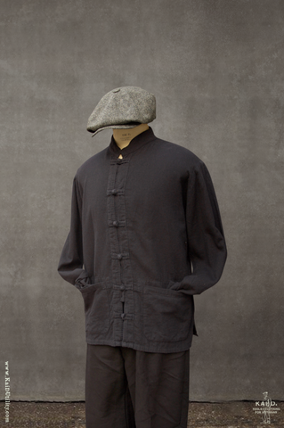 Overdyed Cotton Monk Shirt - Black - S, M, L, XL