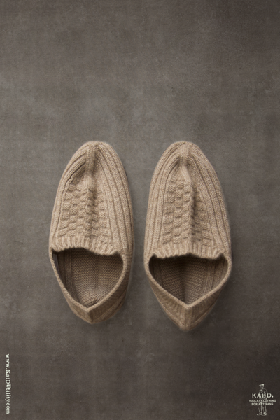 Mongolian Cashmere Prayer Slippers - Wheat Heather - One Size