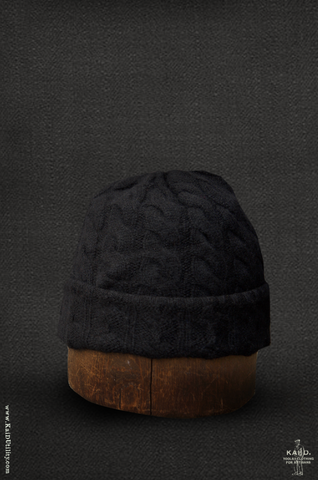 Fisherman Ribbed Beanie - Black