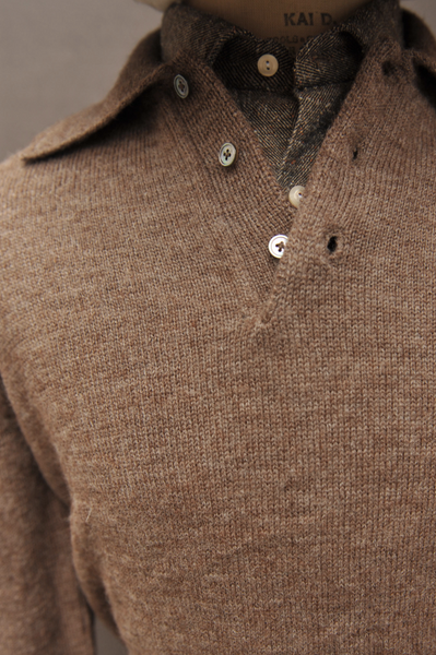 Sweater Polo - Brown - L, XL, XXL