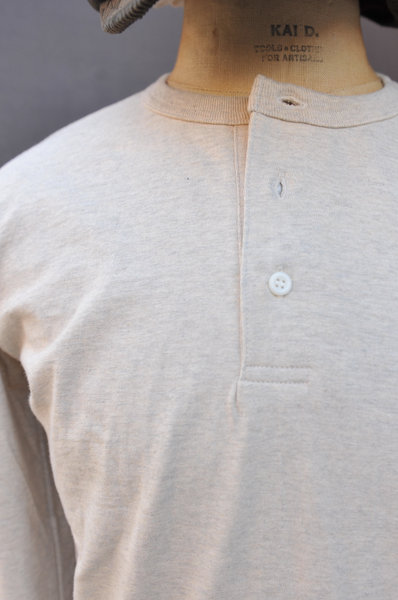 Long Sleeve Henley Tee - Oatmeal Heather - S, M, L, XL