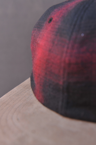Ombre Plaid Cap - Red