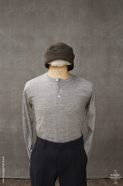 Long Sleeve Henley Tee - Light Grey Heather - L