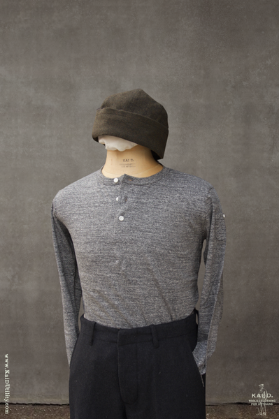 Long Sleeve Henley Tee - Medium Grey Heather - S, M, L, XL