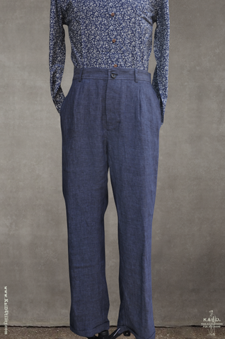 Mads Loose Fit linen Trousers - Blue Delave - S, M, L, XL