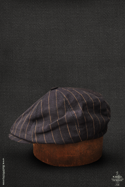 Striped Linen Peaky Hat - Vintage Navy - M, XL
