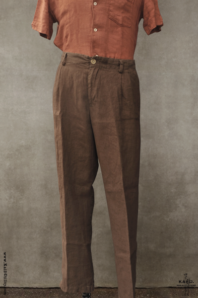 Light Weight Linen Double Pleat Pants - 32