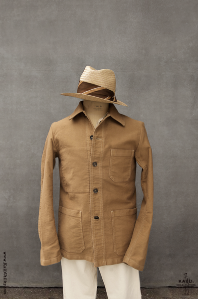 French Moleskin Work Jacket - Camel - 42, 44, 46