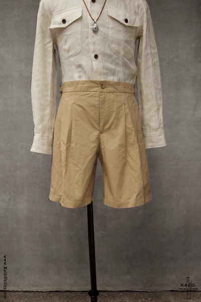 Double Pleat Bermuda Shorts - Sand - 32