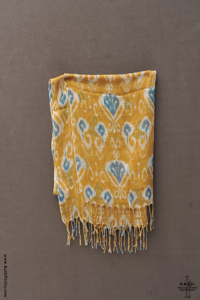 Open weave Ikat Scarf - Yellow/blue