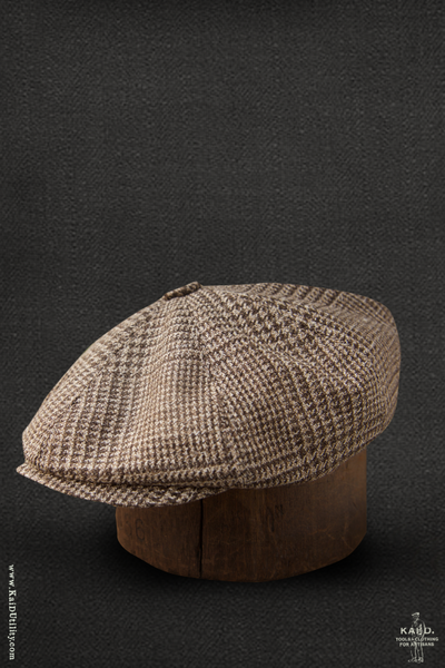 Peaky Hat -  Silk linen plaid - M, L, XL