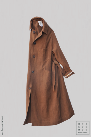 Belgian Stone Washed Linen Anthropologist Coat - Terra Cotta - XS,S, M