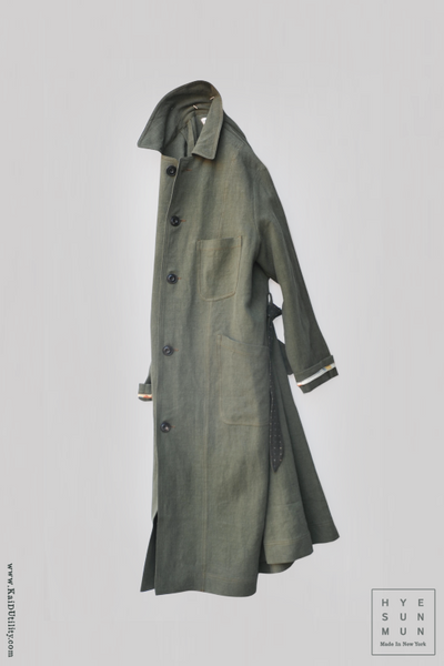 Belgian Stone Washed Linen Anthropologist Coat - Spruce - XS,S, M