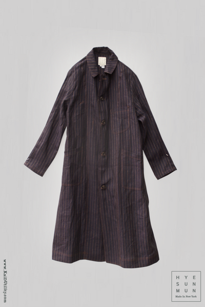 Italian Linen Anthropologist Coat - Navy- XS,S, M