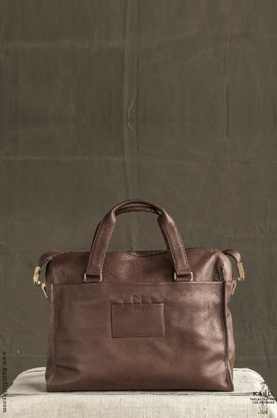 Carpus Leather Briefcase - Brown