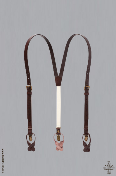 Skinny Leather Suspenders - Brown
