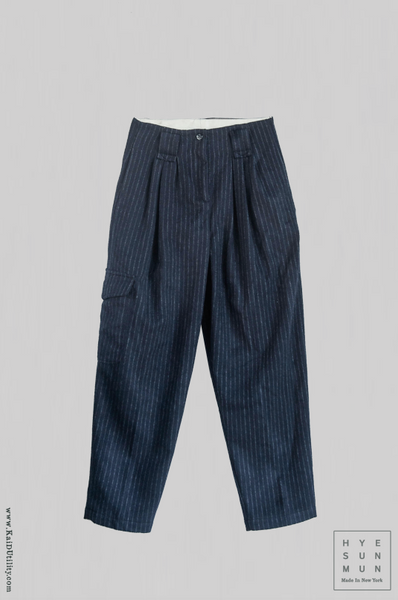 Wool Kaylee Cargo Pants - Navy Stripe