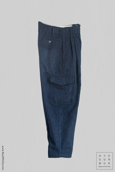 Heavy Wool Kaylee Cargo Pants - Navy Stripe - M, L
