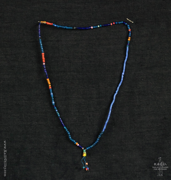 Handmade Beaded Necklace - Indigo