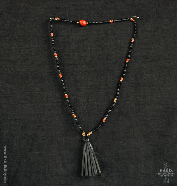 Handmade Beaded Necklace - Black