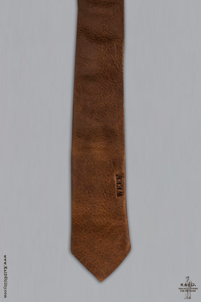 Handmade Leather Tie - Brown
