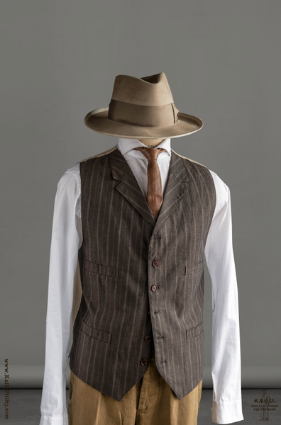 Italian Linen Doyle Vest - Brown