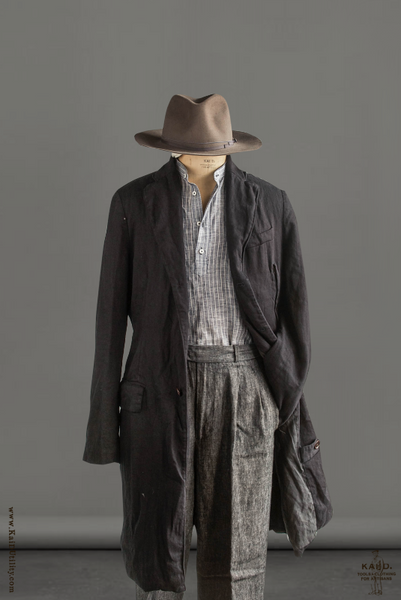 Over Dyed Linen Cotton Crombie Coat