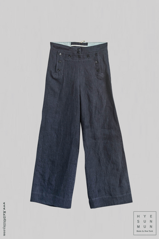 Japanese Linen Sailor Pants - Blue