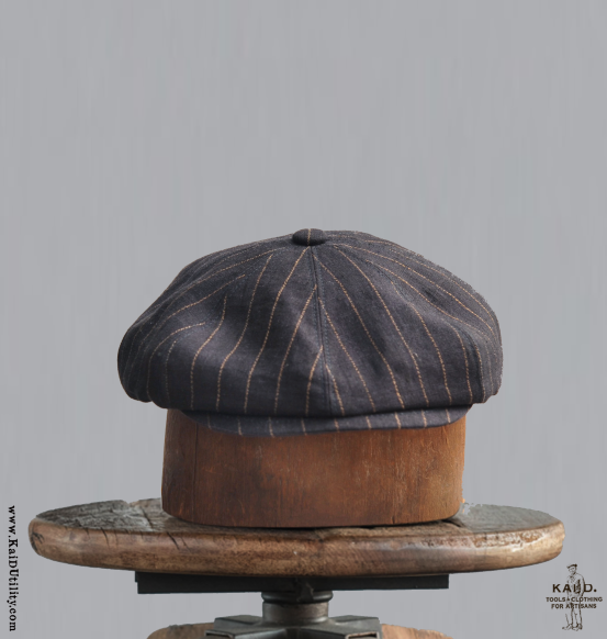 Striped Linen Peaky Hat - Vintage Navy