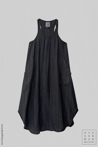 Garment Dyed Stripe Linen Becka Dress - Grey