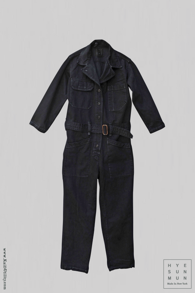 Garment dyed Denim Earhart Jumpsuit - Charcoal - XS, S