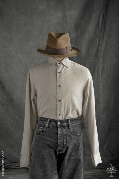 Artisan Twill Denham shirt - Pale Grey - L, XL