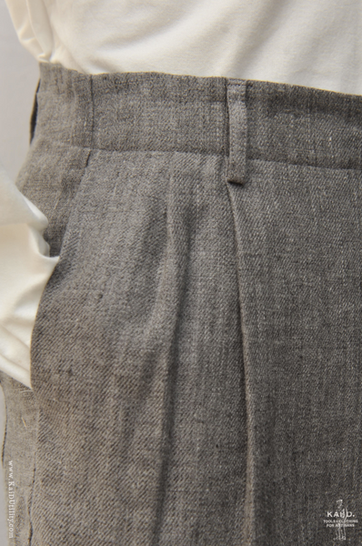 Heather Linen Wool Double Pleat Pants - 32/33, 35/36