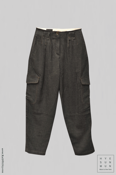 Washed Wool Kaylee Cargo Pants - Charcoal - S