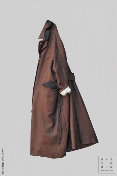 Wool Sontag Coat - Brown - S