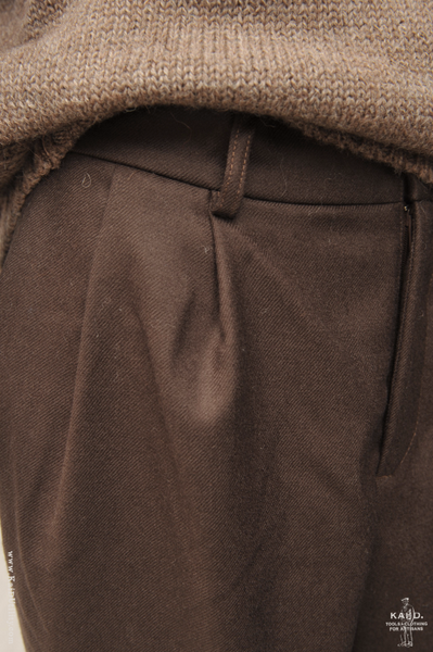Double Pleat Trousers - Deep Brown - 32, 34