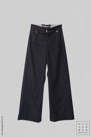 Soft wool sailor pants - Midnight - XS, S, M