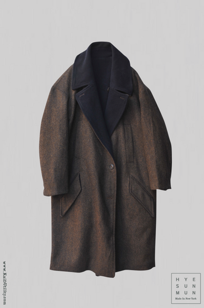 Anne Reversible Wool Coat - Tweed Brown/Navy - XS, S