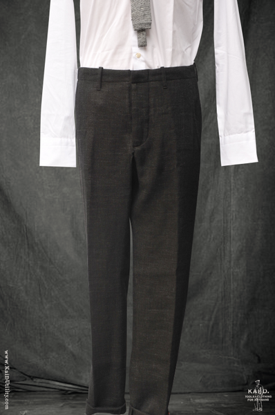 Stipple Weave Wool Linen Borough Pants - Black - 30, 32, 34, 36