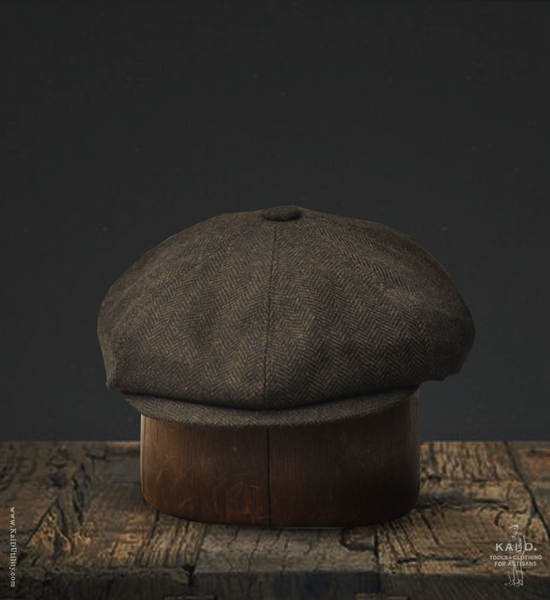 Wool Herringbone Peaky Hat - M