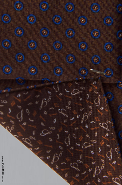 Reversible Silk Wool Pocket Square - Brown