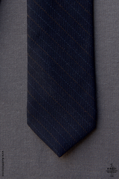 English Wool Striped Tie - Deep Navy