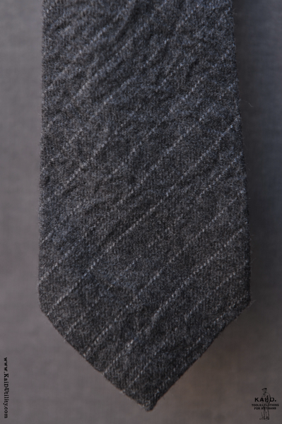 Wool Chalk Stripe Tie - Grey
